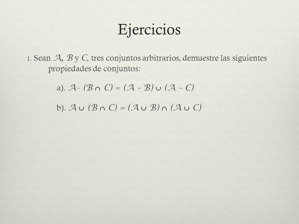 Ejercicios a). A– (B  C) = (A – B)  (A – C)