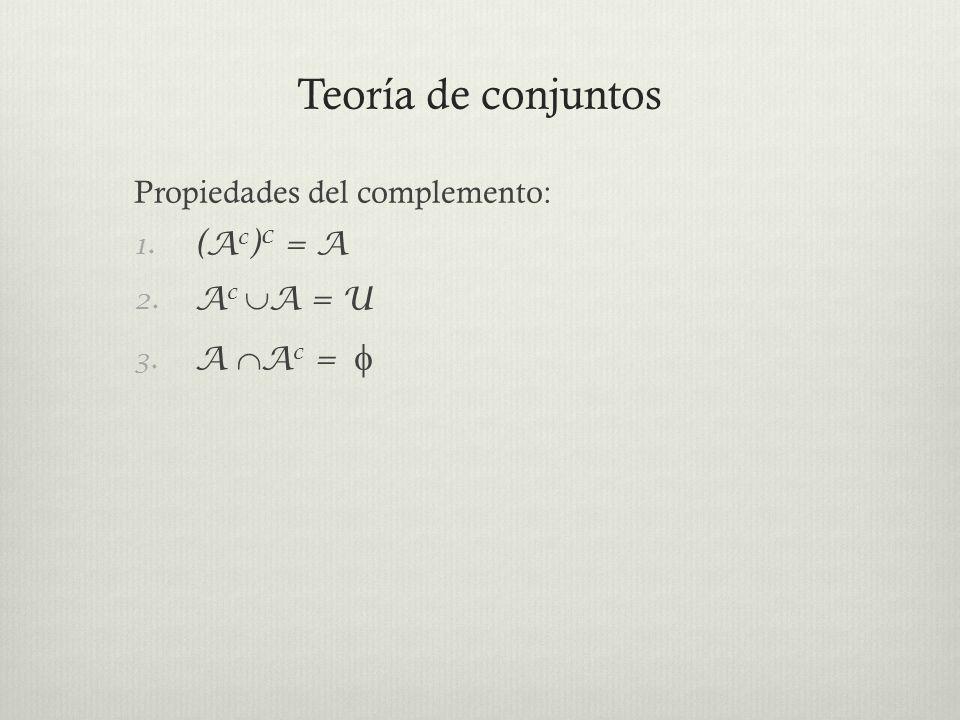 Teoría de conjuntos Propiedades del complemento: (Ac)c = A Ac A = U