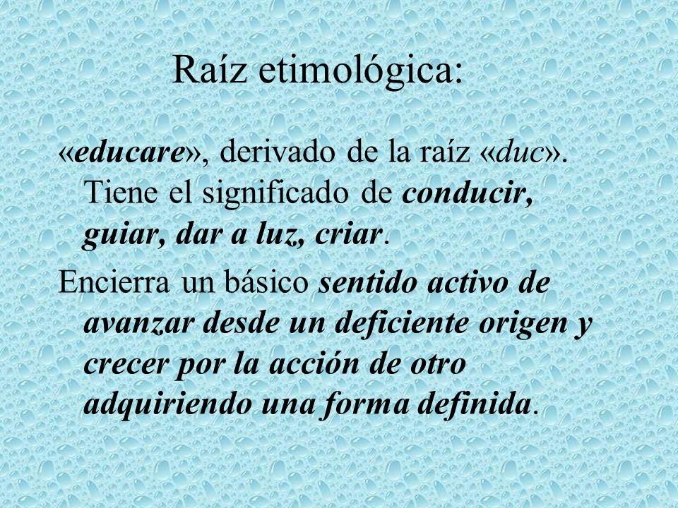 Raíz etimológica: «educare», derivado de la raíz «duc». Tiene el significado de conducir, guiar, dar a luz, criar.