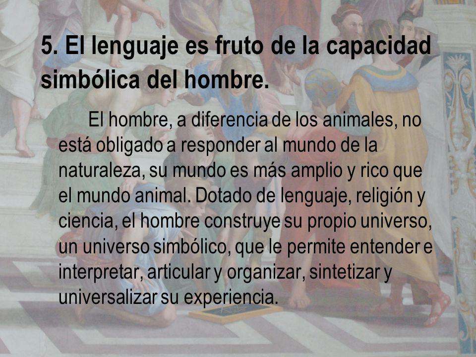 5. El lenguaje es fruto de la capacidad simbólica del hombre.