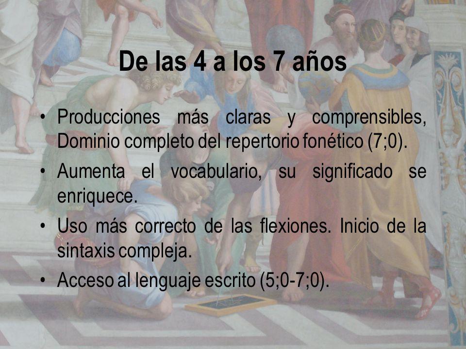 De las 4 a los 7 añosProducciones más claras y comprensibles, Dominio completo del repertorio fonético (7;0).