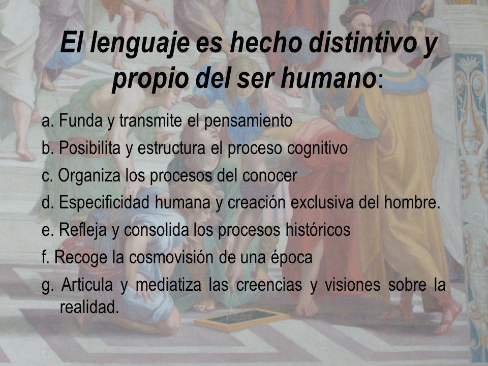El lenguaje es hecho distintivo y propio del ser humano: