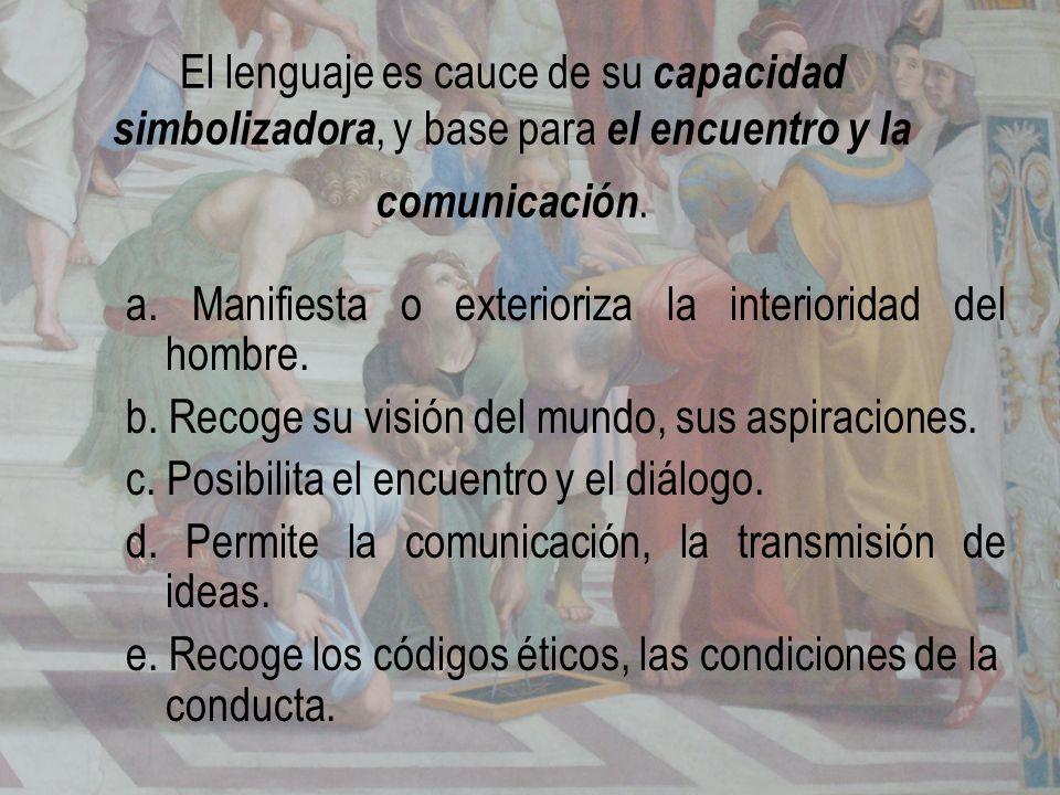 El lenguaje es cauce de su capacidad simbolizadora, y base para el encuentro y la comunicación.