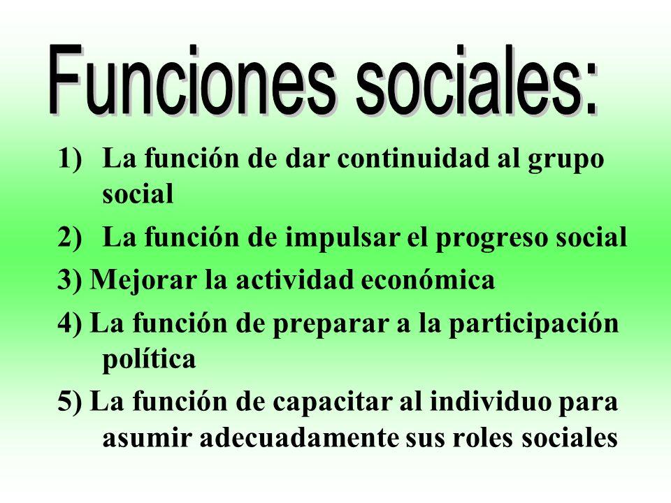 Funciones sociales: La función de dar continuidad al grupo social