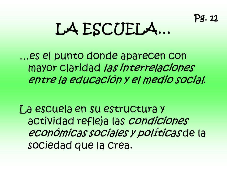Pg. 12 LA ESCUELA… …es el punto donde aparecen con mayor claridad las interrelaciones entre la educación y el medio social.