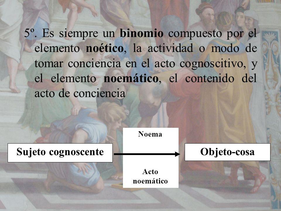 5º. Es siempre un binomio compuesto por el elemento noético, la actividad o modo de tomar conciencia en el acto cognoscitivo, y el elemento noemático, el contenido del acto de conciencia