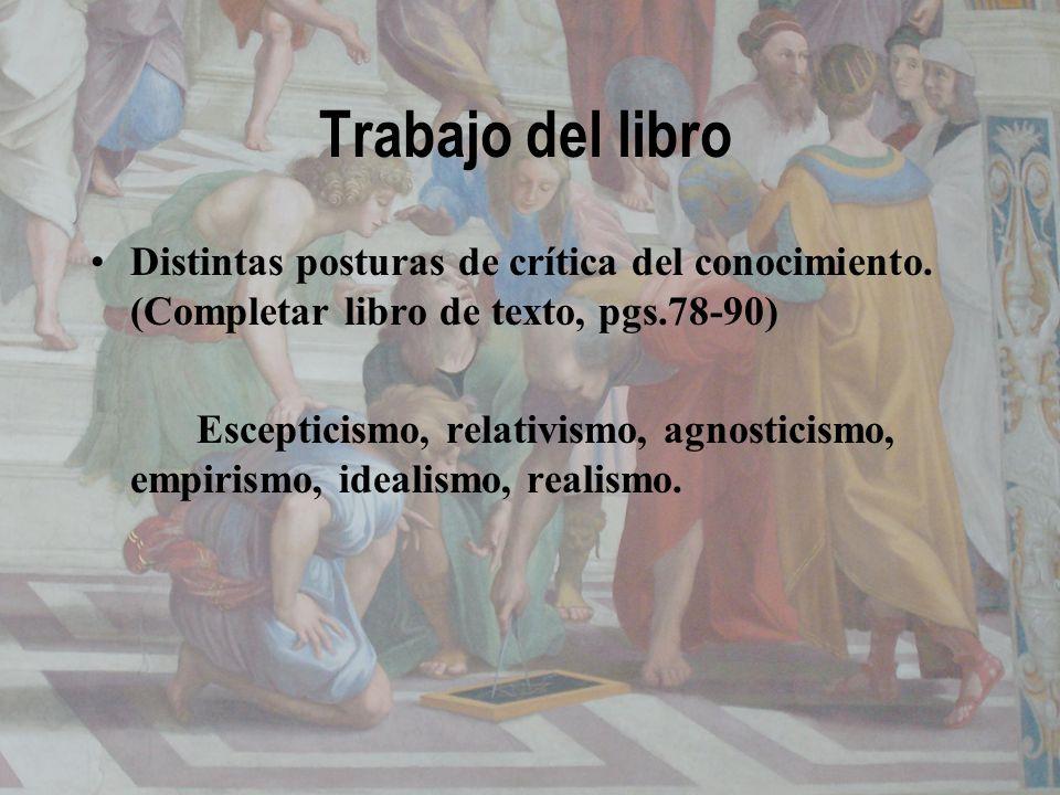 Trabajo del libroDistintas posturas de crítica del conocimiento. (Completar libro de texto, pgs.78-90)