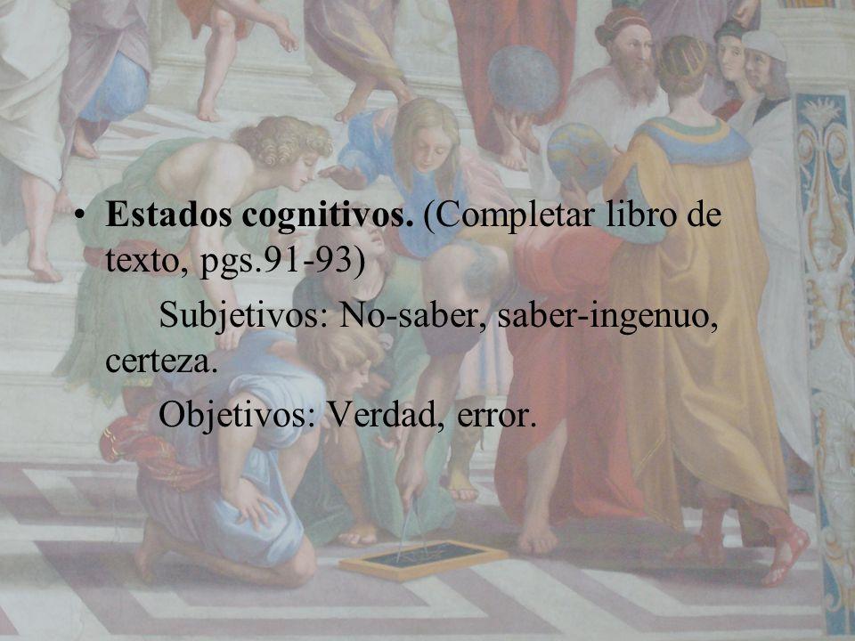 Estados cognitivos. (Completar libro de texto, pgs.91-93)