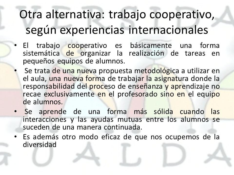 Otra alternativa: trabajo cooperativo, según experiencias internacionales