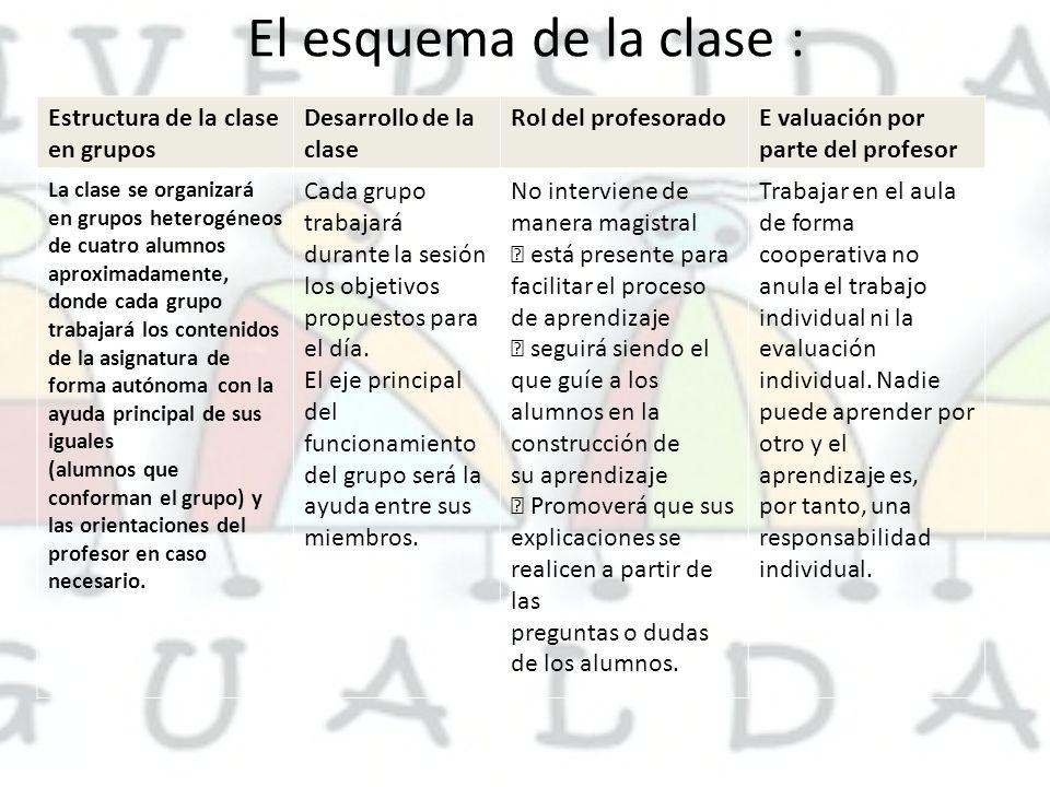 El esquema de la clase : Estructura de la clase en grupos