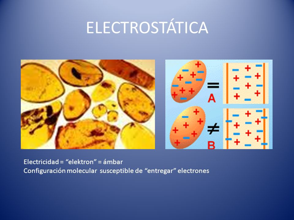 ELECTROSTÁTICA Electricidad = elektron = ámbar