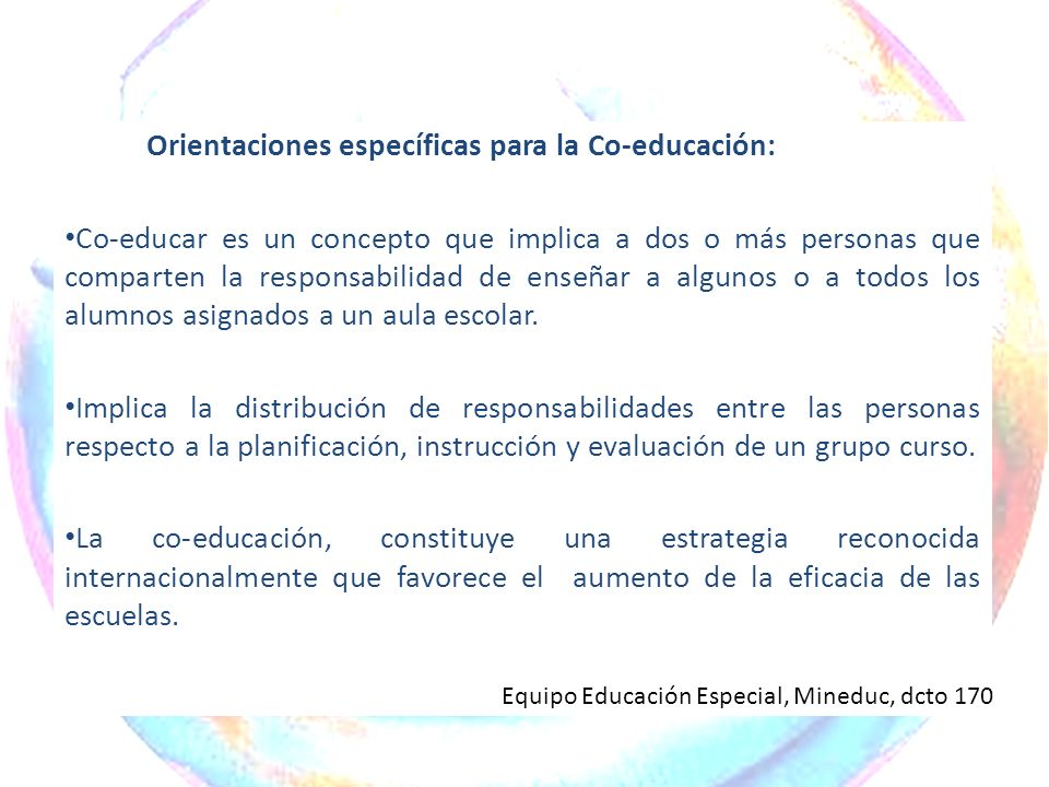 Orientaciones específicas para la Co-educación: