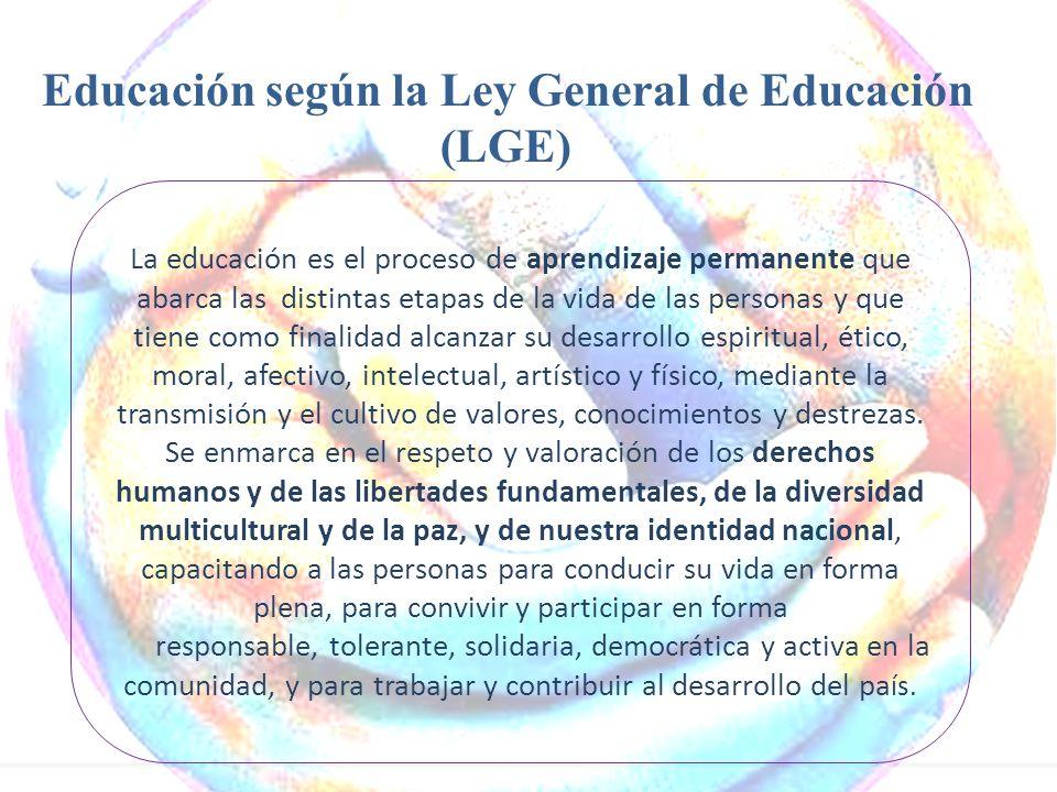 Educación según la Ley General de Educación (LGE)