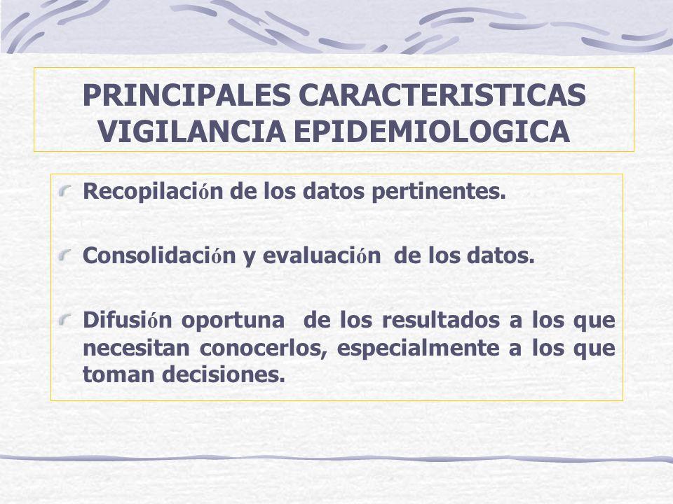 PRINCIPALES CARACTERISTICAS VIGILANCIA EPIDEMIOLOGICA