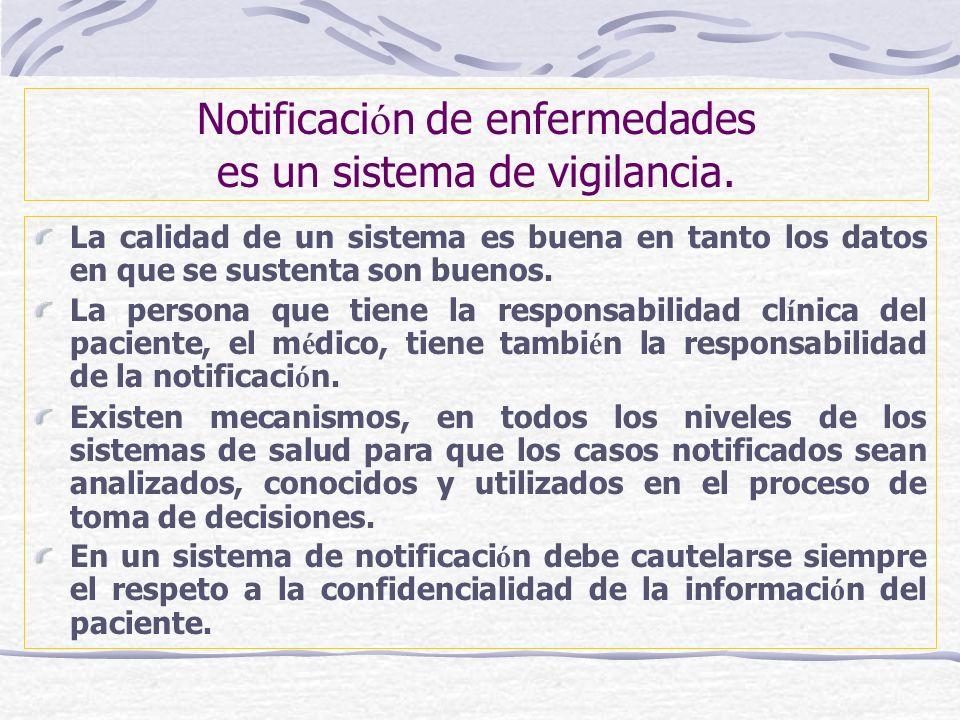 Notificación de enfermedades es un sistema de vigilancia.