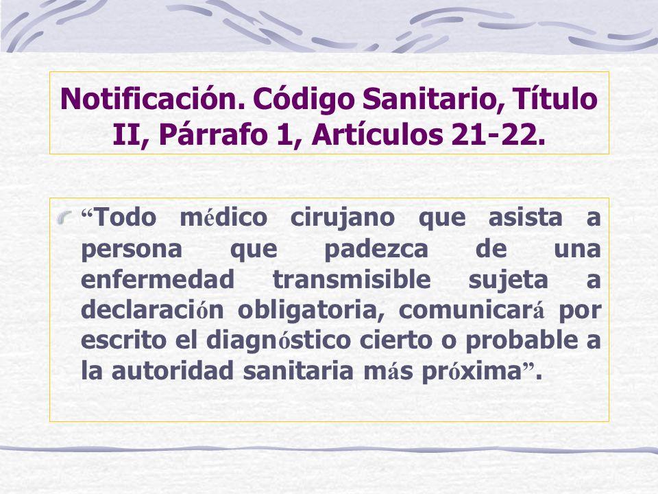 Notificación. Código Sanitario, Título II, Párrafo 1, Artículos 21-22.