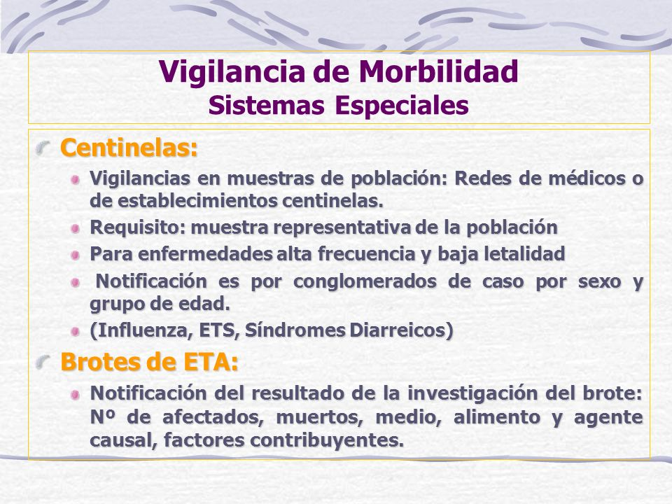 Vigilancia de Morbilidad Sistemas Especiales