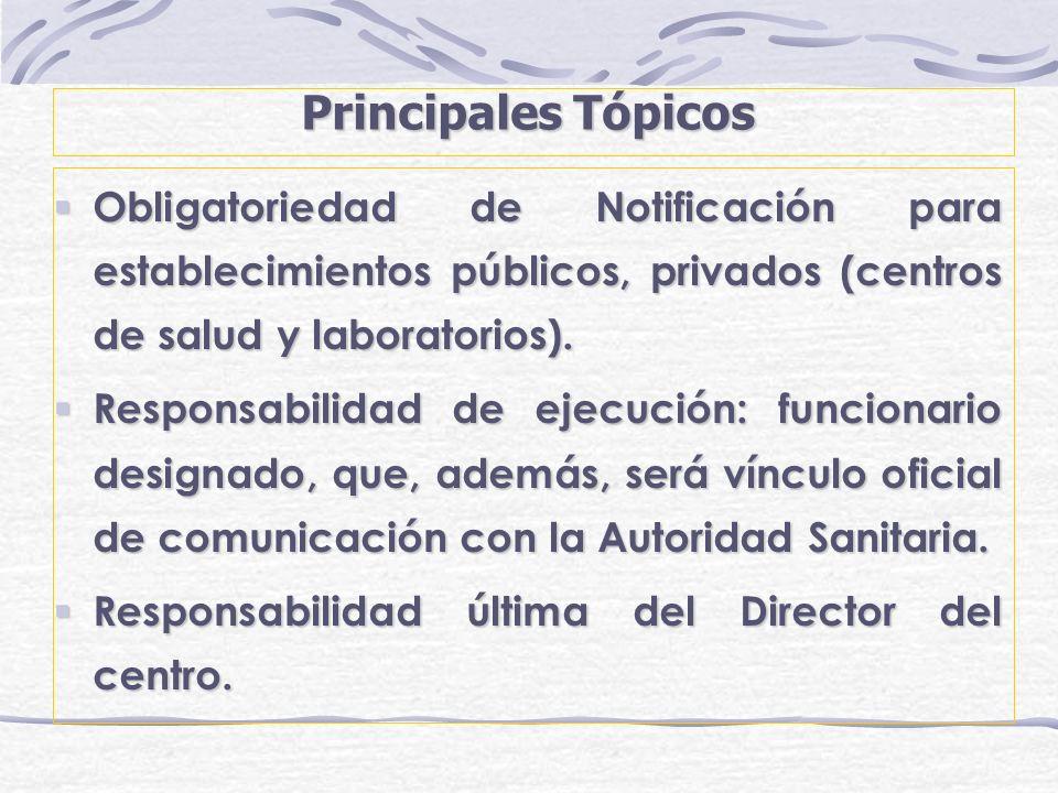 Principales Tópicos Obligatoriedad de Notificación para establecimientos públicos, privados (centros de salud y laboratorios).