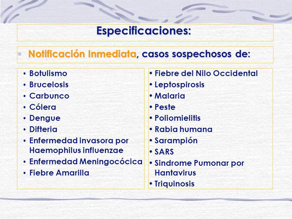 Especificaciones: Notificación Inmediata, casos sospechosos de: