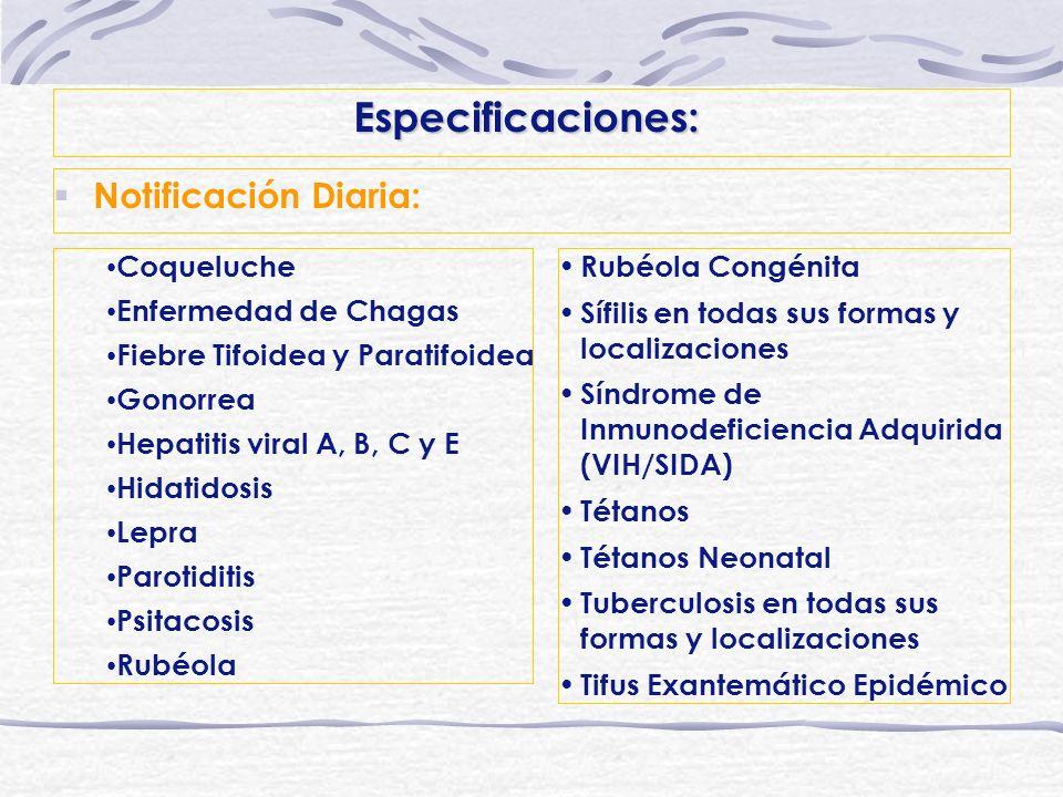 Especificaciones: Notificación Diaria: Coqueluche Enfermedad de Chagas