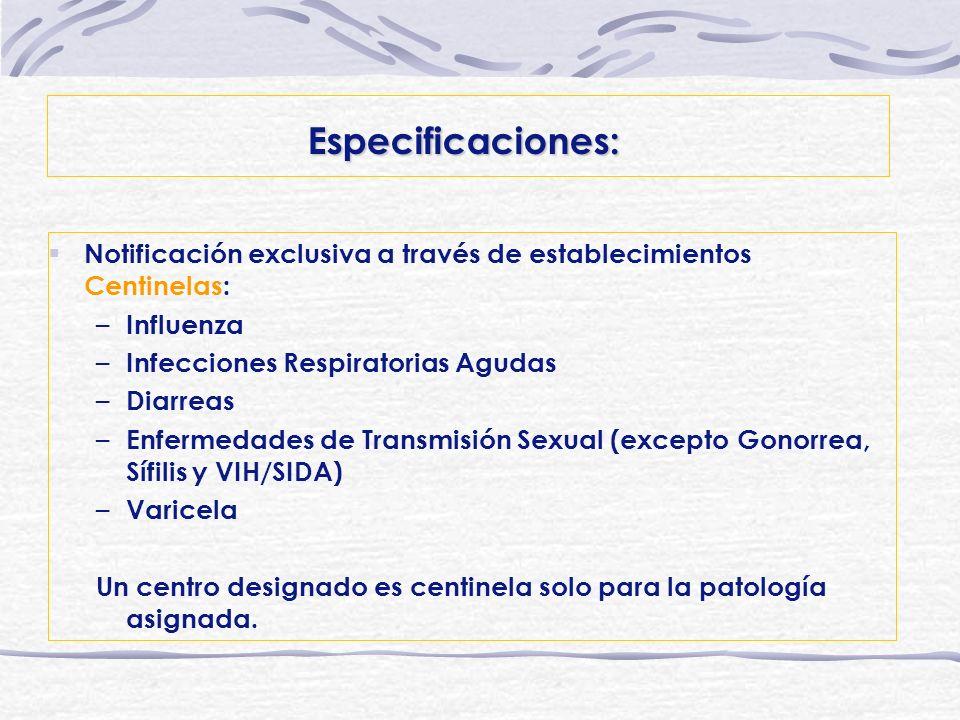 Especificaciones: Notificación exclusiva a través de establecimientos Centinelas: Influenza. Infecciones Respiratorias Agudas.