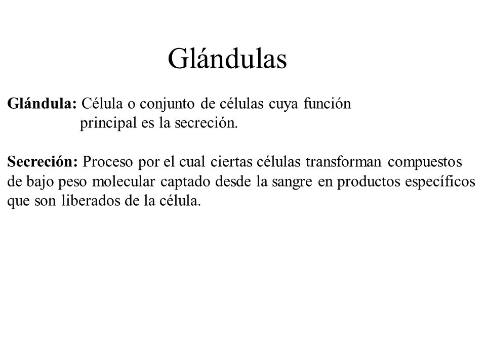 Glándulas Glándula: Célula o conjunto de células cuya función