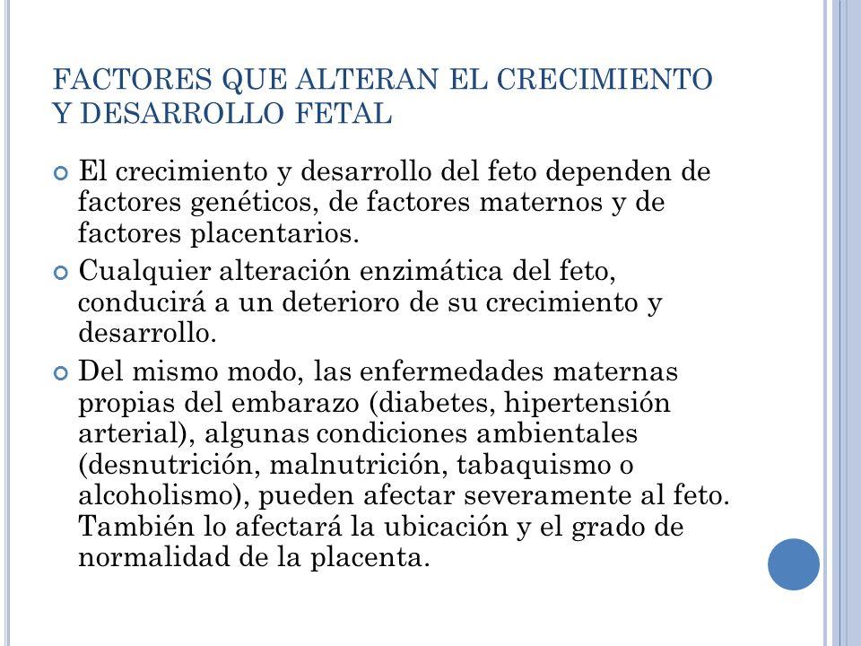 FACTORES QUE ALTERAN EL CRECIMIENTO Y DESARROLLO FETAL
