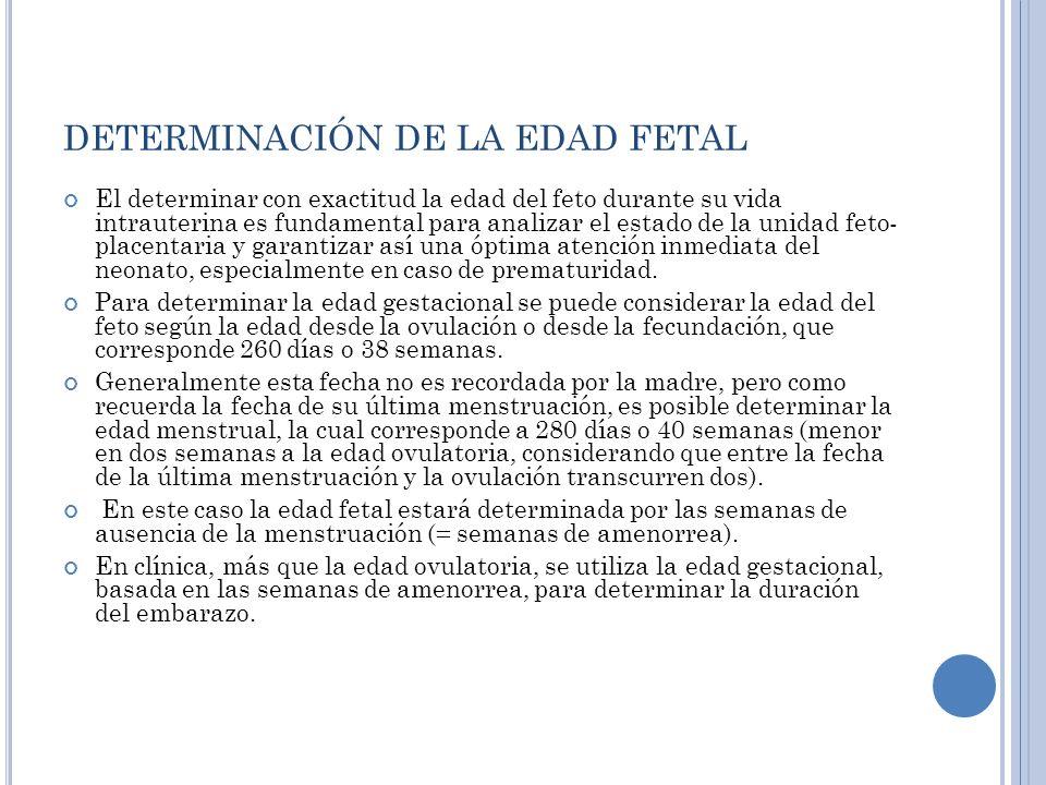 DETERMINACIÓN DE LA EDAD FETAL