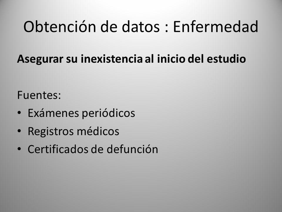 Obtención de datos : Enfermedad