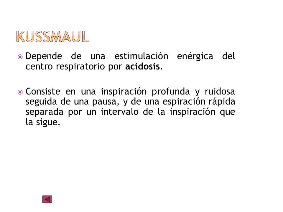 kussmaulDepende de una estimulación enérgica del centro respiratorio por acidosis.