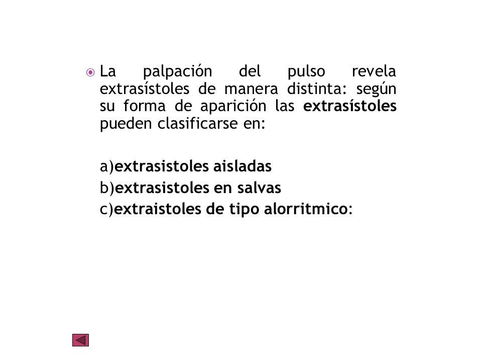 La palpación del pulso revela extrasístoles de manera distinta: según su forma de aparición las extrasístoles pueden clasificarse en: