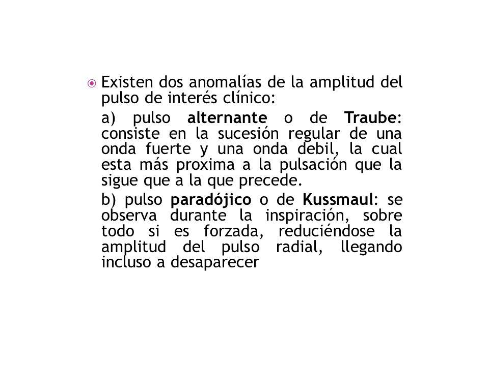 Existen dos anomalías de la amplitud del pulso de interés clínico: