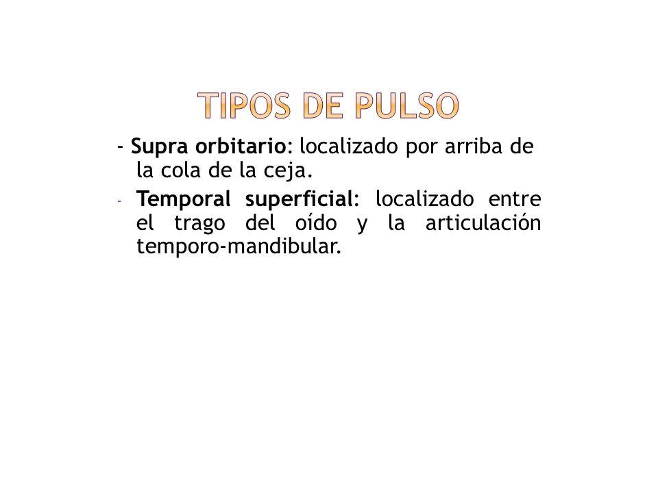 Tipos de pulso- Supra orbitario: localizado por arriba de la cola de la ceja.