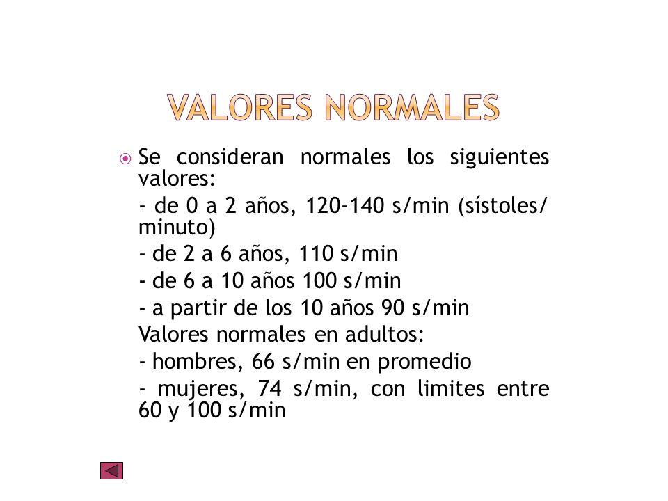 Valores Normales Se consideran normales los siguientes valores: