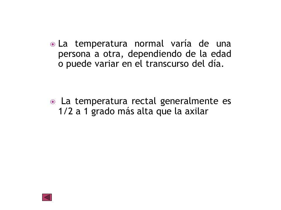 La temperatura normal varía de una persona a otra, dependiendo de la edad o puede variar en el transcurso del día.