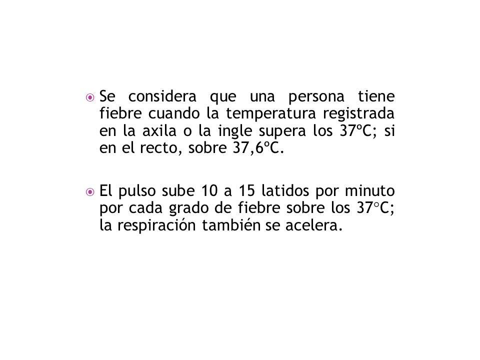 Se considera que una persona tiene fiebre cuando la temperatura registrada en la axila o la ingle supera los 37ºC; si en el recto, sobre 37,6ºC.