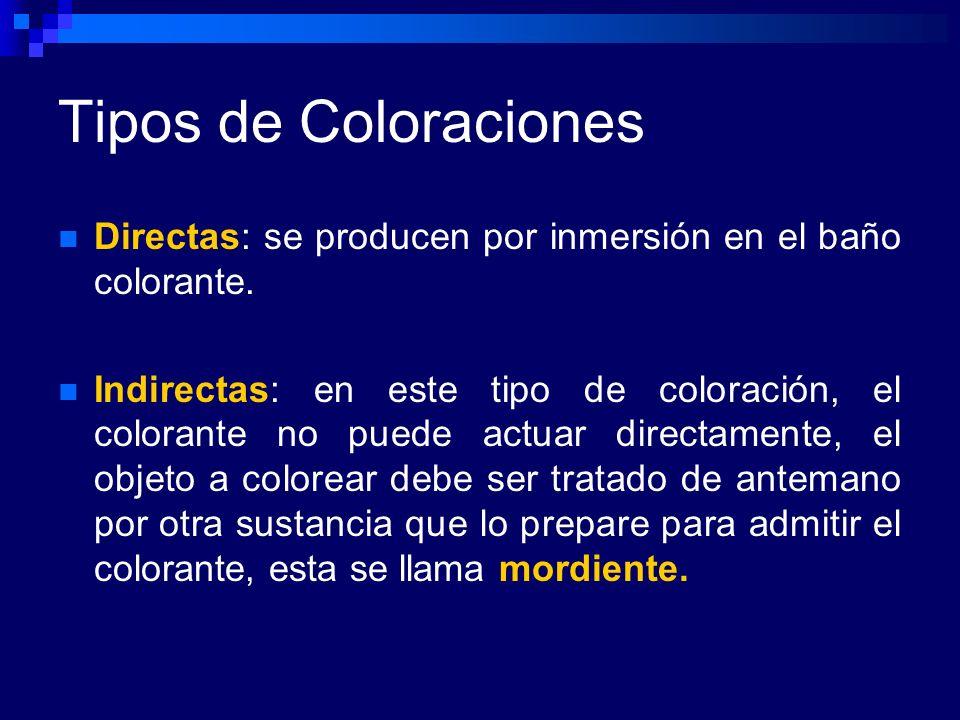 Tipos de Coloraciones Directas: se producen por inmersión en el baño colorante.