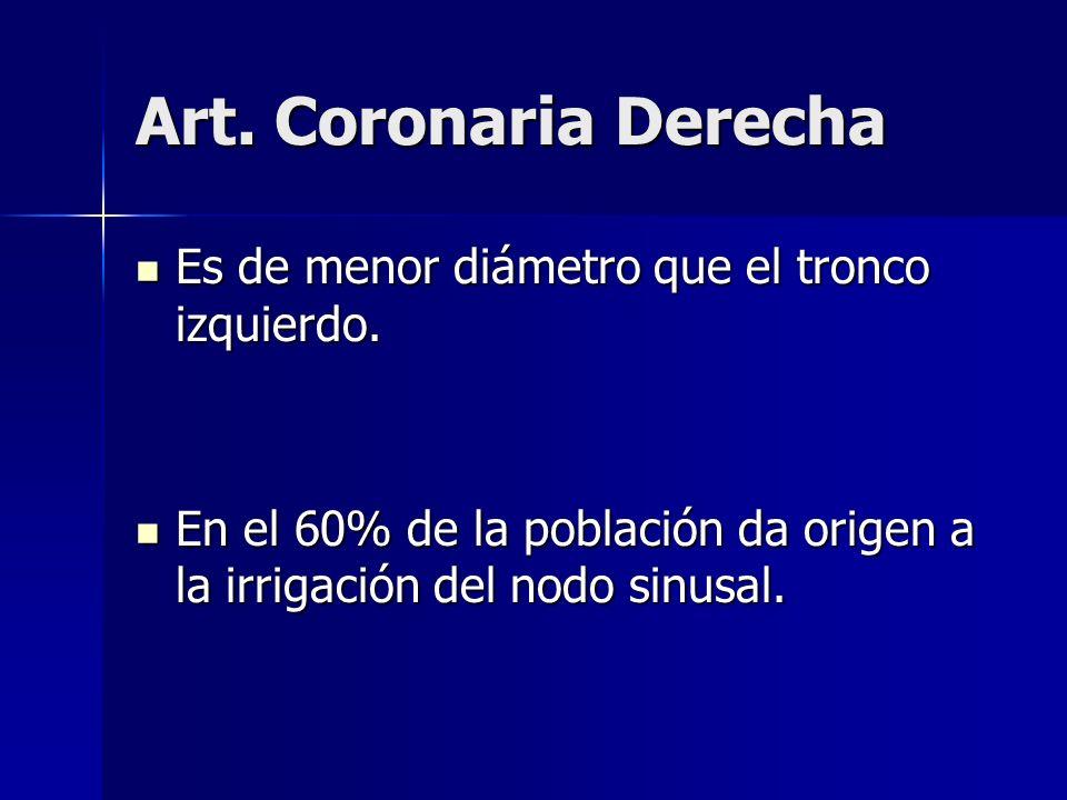 Art. Coronaria Derecha Es de menor diámetro que el tronco izquierdo.