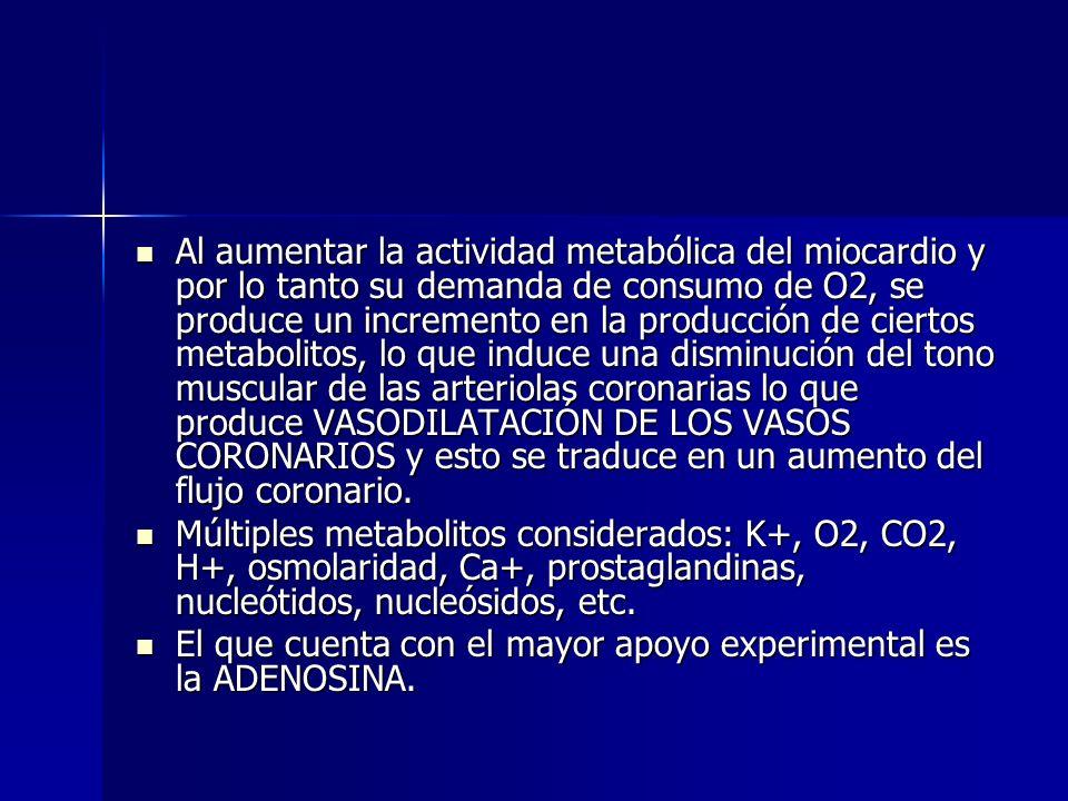 Al aumentar la actividad metabólica del miocardio y por lo tanto su demanda de consumo de O2, se produce un incremento en la producción de ciertos metabolitos, lo que induce una disminución del tono muscular de las arteriolas coronarias lo que produce VASODILATACIÓN DE LOS VASOS CORONARIOS y esto se traduce en un aumento del flujo coronario.