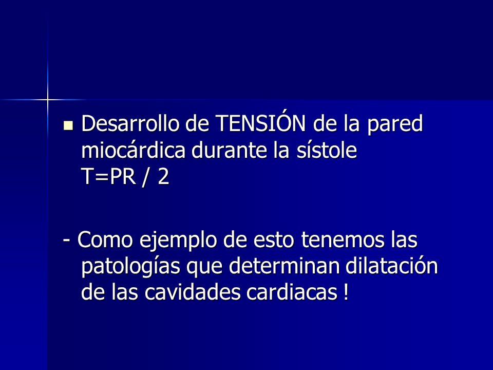 Desarrollo de TENSIÓN de la pared miocárdica durante la sístole T=PR / 2