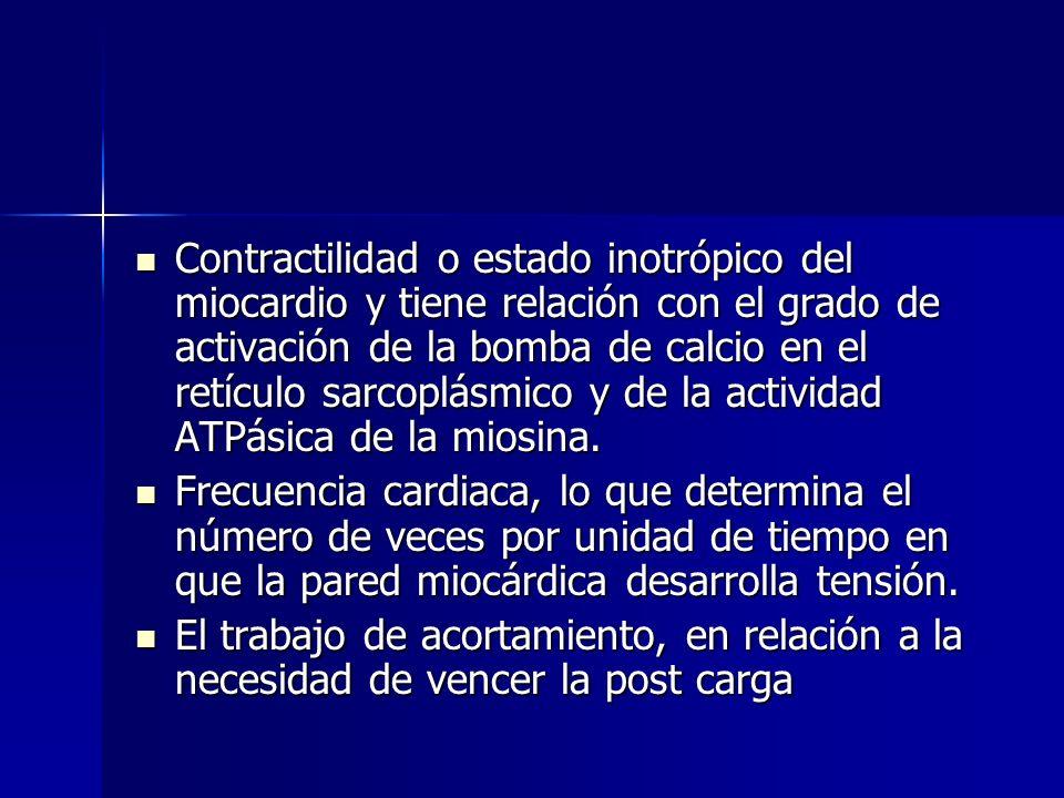 Contractilidad o estado inotrópico del miocardio y tiene relación con el grado de activación de la bomba de calcio en el retículo sarcoplásmico y de la actividad ATPásica de la miosina.