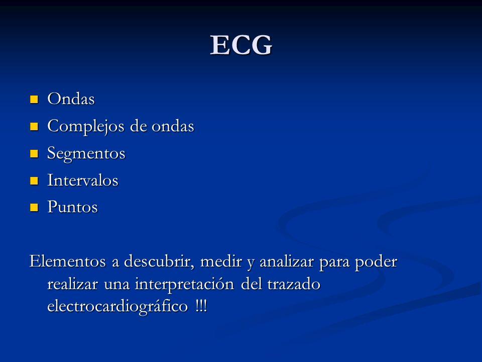 ECG Ondas Complejos de ondas Segmentos Intervalos Puntos