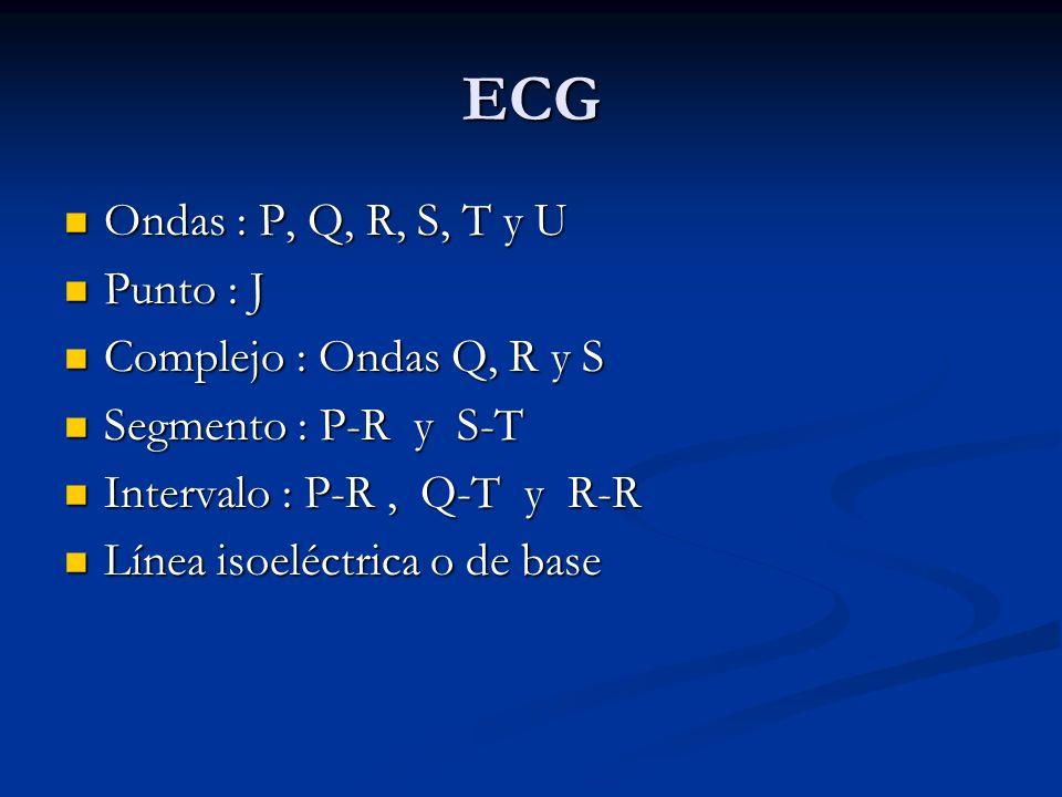 ECG Ondas : P, Q, R, S, T y U Punto : J Complejo : Ondas Q, R y S