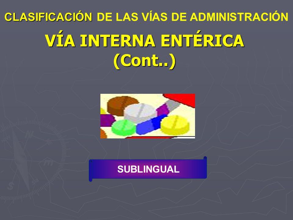 VÍA INTERNA ENTÉRICA (Cont..)