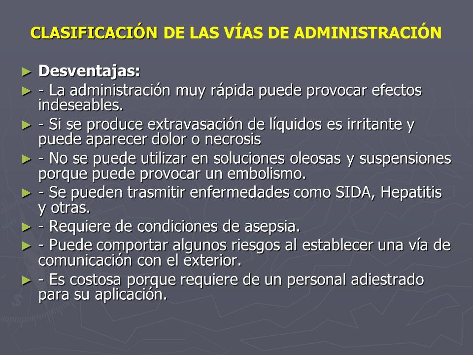 CLASIFICACIÓN DE LAS VÍAS DE ADMINISTRACIÓN