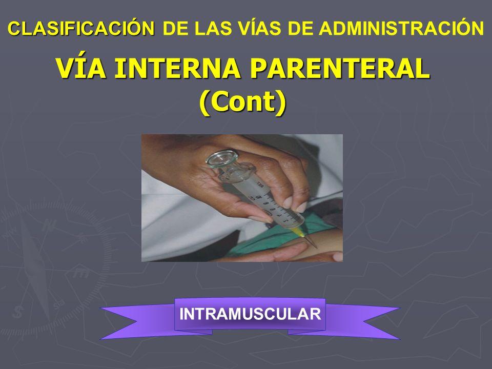 VÍA INTERNA PARENTERAL (Cont)