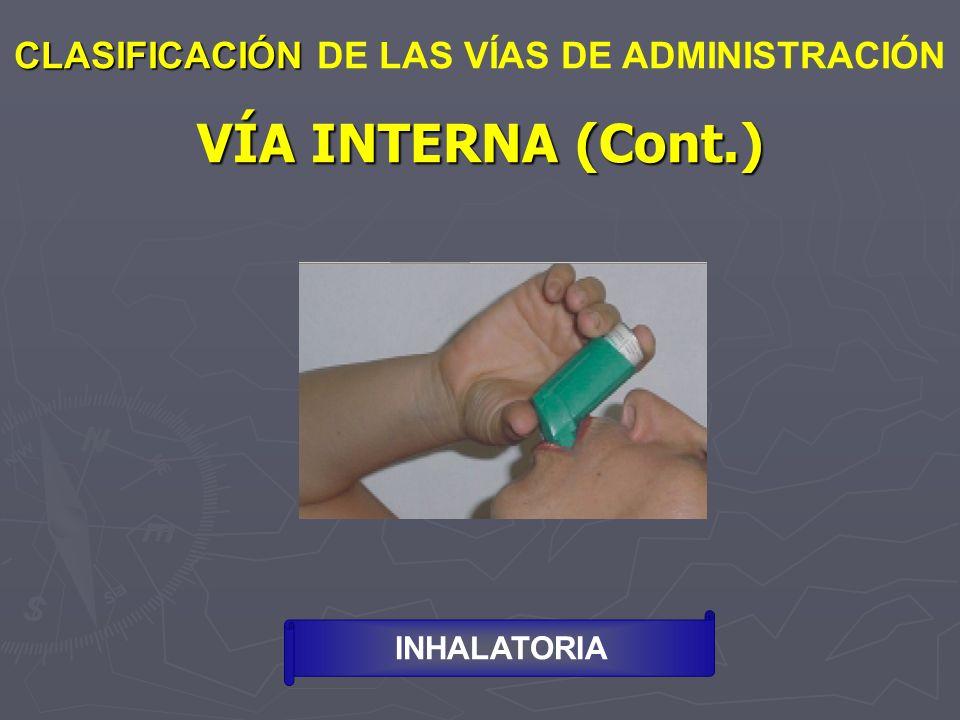 VÍA INTERNA (Cont.) CLASIFICACIÓN DE LAS VÍAS DE ADMINISTRACIÓN