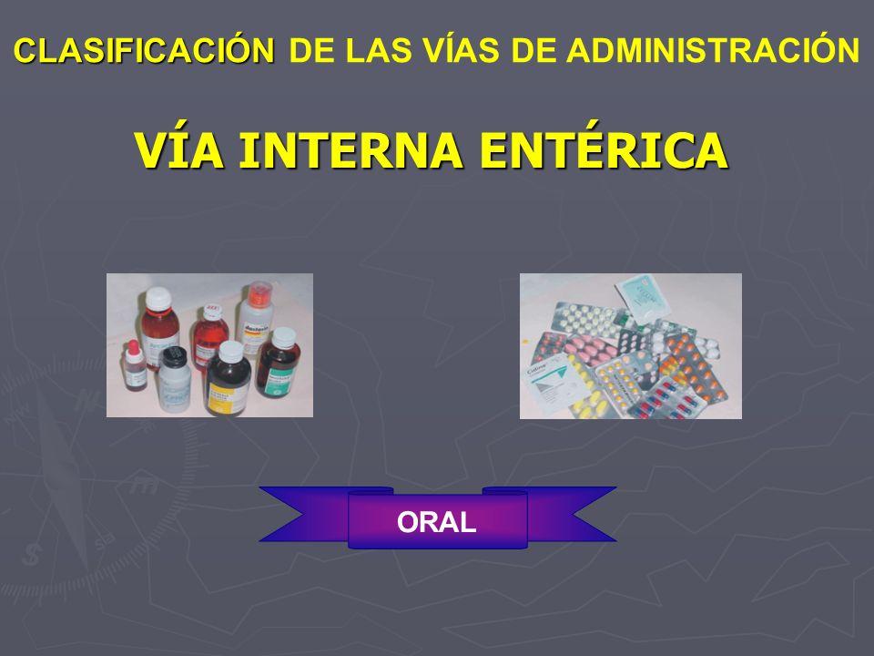 VÍA INTERNA ENTÉRICA CLASIFICACIÓN DE LAS VÍAS DE ADMINISTRACIÓN ORAL
