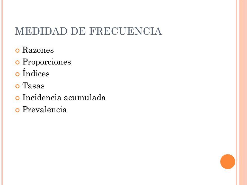MEDIDAD DE FRECUENCIA Razones Proporciones Índices Tasas