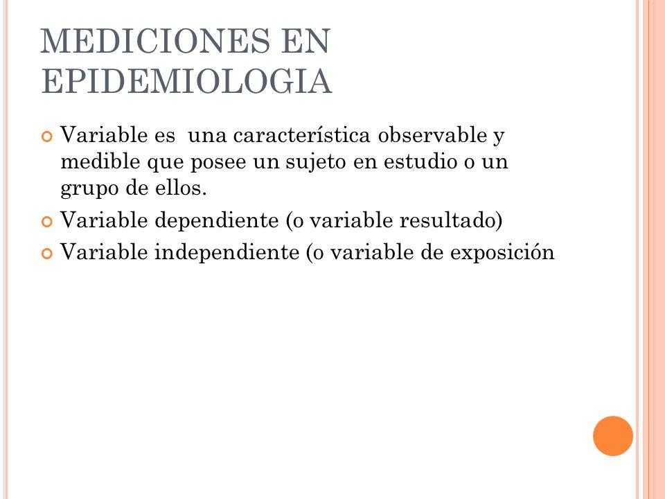 MEDICIONES EN EPIDEMIOLOGIA